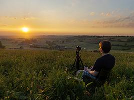 René Pelzer beim Sonnenuntergang