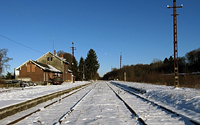 Bahnhof der Vennbahn in Raeren im Schnee