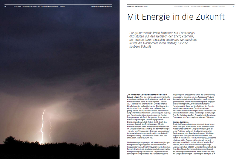 Dimensionen FH Aachen - Mit Energie in die Zukunft