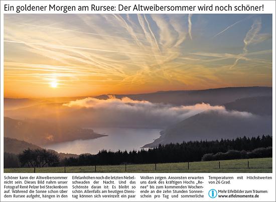Sonnenaufgang über dem Rursee in der Aachener Zeitung