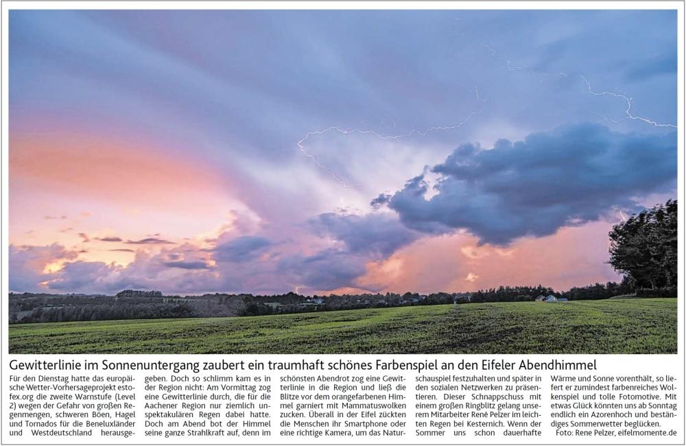Artikel über das Gewitter im Abendlicht am 15.8.2017 im Lokalteil der Eifeler Zeitung