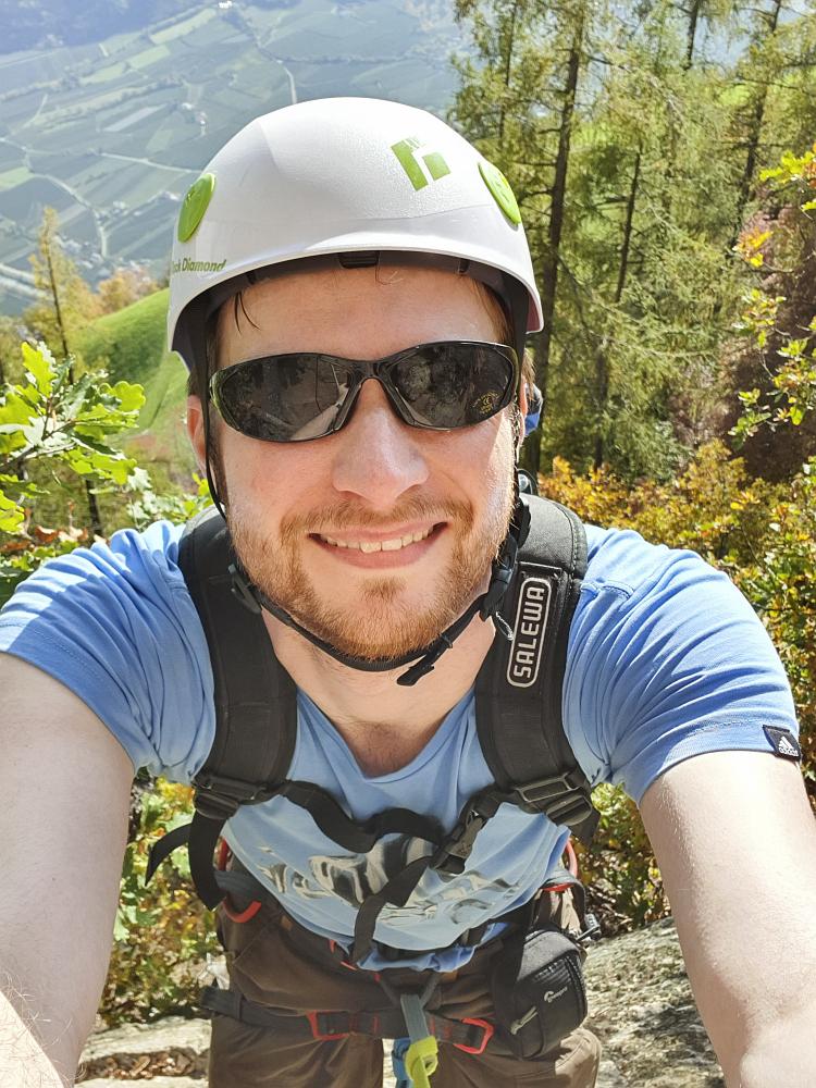 Ich auf meinem ersten Klettersteig in Südtirol